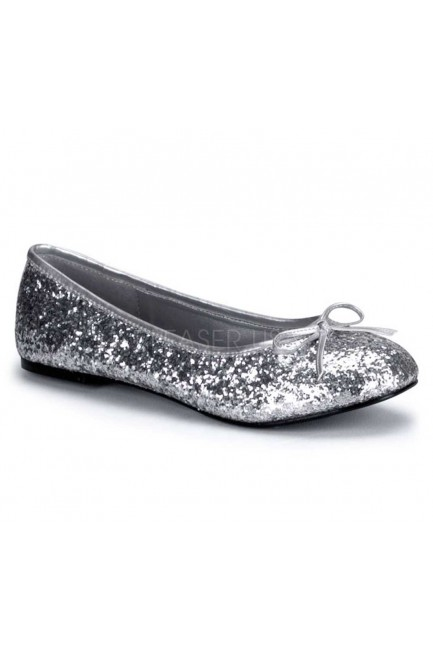 Star Silver Glittered Ballet Flat at Sensual Elegance Fashion, Lingerie and Shoes, Women's Sexy Clothing & Lingerie - Clubwear, Plus Size Clothing & Accessories