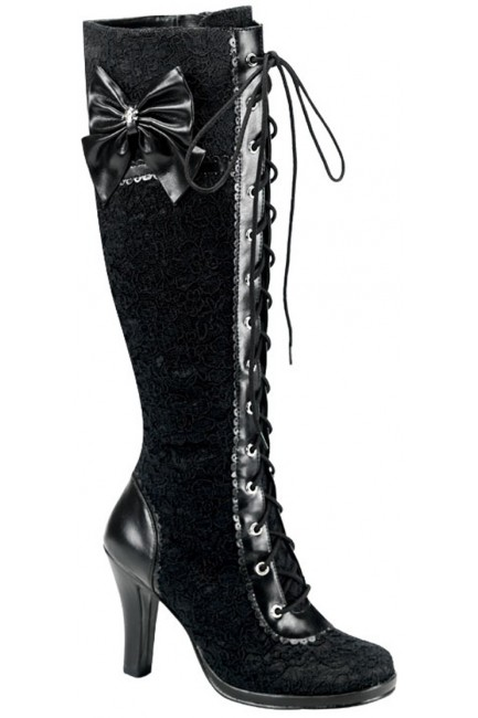 Glam Lace Overlay Knee Boot at Sensual Elegance Fashion, Lingerie and Shoes, Women's Sexy Clothing & Lingerie - Clubwear, Plus Size Clothing & Accessories