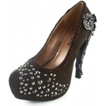 Amina Brown Suede Studded Victorian Pumps, Size 9