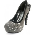 Amina Pewter Gray Suede Studded Victorian Pumps - Size 10