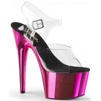 Hot Pink Chrome Platform Clear Strap Platform Sandal