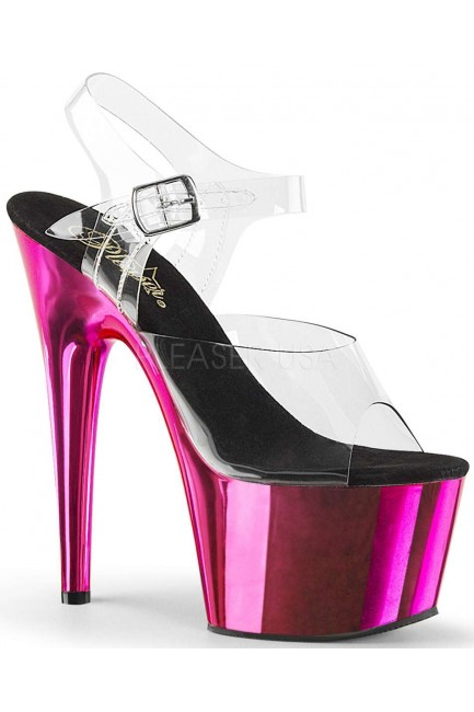Hot Pink Chrome Platform Clear Strap Platform Sandal at Sensual Elegance Fashion, Lingerie and Shoes, Women's Sexy Clothing & Lingerie - Clubwear, Plus Size Clothing & Accessories