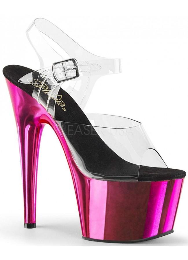 3e20d0a6e6b0 Hot Pink Chrome Platform Clear Strap Platform Sandal at Sensual Elegance  Fashion