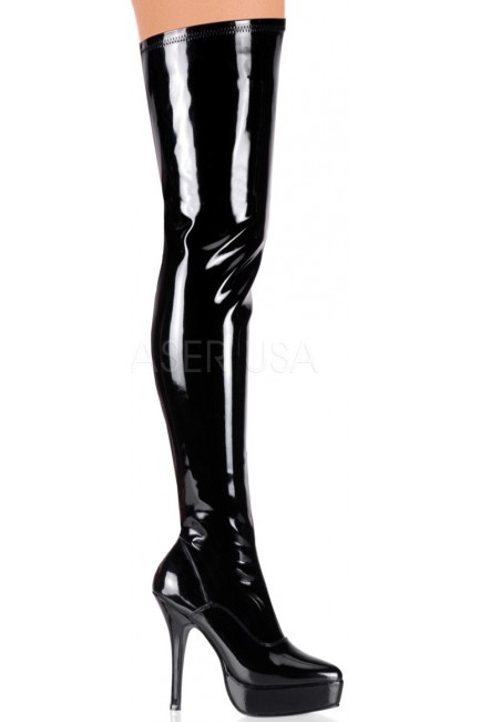Black Indulge Faux Patent Leather Stiletto Heel Boot at Sensual Elegance Fashion, Lingerie and Shoes, Women's Sexy Clothing & Lingerie - Clubwear, Plus Size Clothing & Accessories