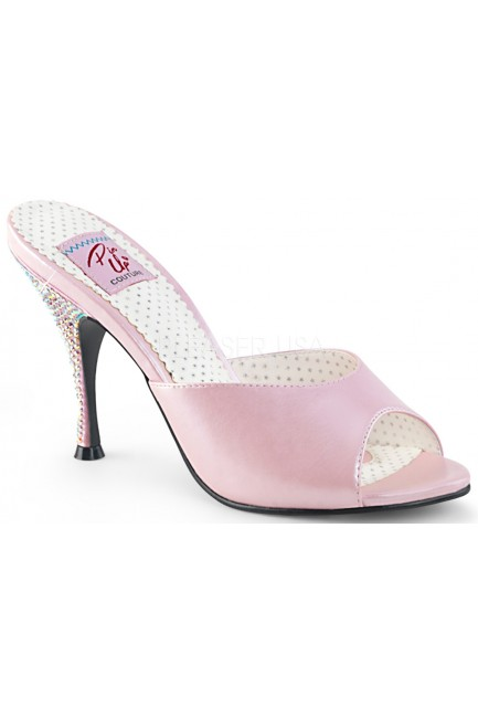 Monroe Rhinestone Heeled Baby Pink Slides at Sensual Elegance Fashion, Lingerie and Shoes, Women's Sexy Clothing & Lingerie - Clubwear, Plus Size Clothing & Accessories