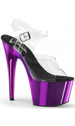 Purple Chrome Platform Clear Strap Platform Sandal