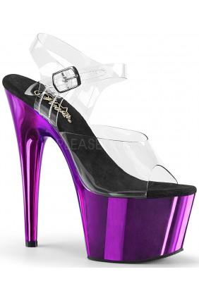 Purple Chrome Platform Clear Strap Platform Sandal