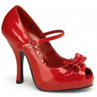 Cutie Pie Red Peep Toe Mary Jane Pin Up Pumps