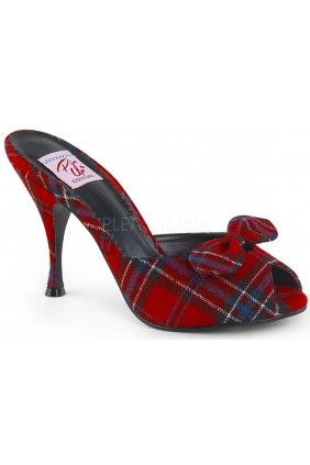 Monroe Red Plaid Slide with Bow Sensual Elegance Fashion, Lingerie and Shoes Women's Sexy Clothing & Lingerie - Clubwear, Plus Size Clothing & Accessories
