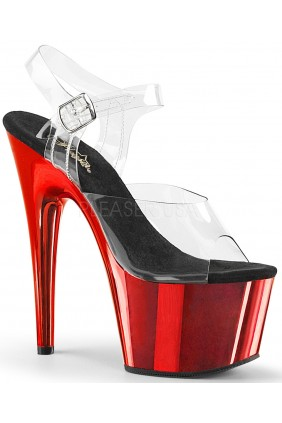 Red Chrome Platform Clear Strap Platform Sandal Sensual Elegance Fashion, Lingerie and Shoes Women's Sexy Clothing & Lingerie - Clubwear, Plus Size Clothing & Accessories