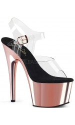 Rose Gold Chrome Platform Clear Strap Platform Sandal