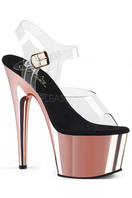 Rose Gold Chrome Platform Clear Strap Platform Sandal at Sensual Elegance Fashion, Lingerie and Shoes, Women's Sexy Clothing & Lingerie - Clubwear, Plus Size Clothing & Accessories