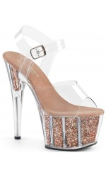 Rose Gold Glitter Filled Clear Platform Adore Sandals
