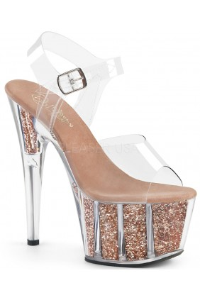 Rose Gold Glitter Filled Clear Platform Adore Sandals Sensual Elegance Fashion, Lingerie and Shoes Women's Sexy Clothing & Lingerie - Clubwear, Plus Size Clothing & Accessories