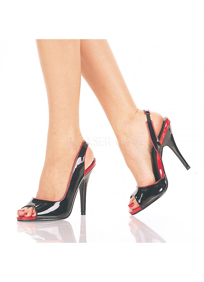 c6dad10f514 ... Red and Black Seduce Slingback Pump at Sensual Elegance Fashion