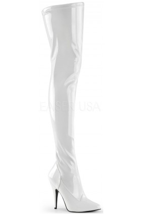 Seduce White High Heel Thigh High Boots Sensual Elegance Fashion, Lingerie and Shoes Women's Sexy Clothing & Lingerie - Clubwear, Plus Size Clothing & Accessories