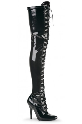 Seduce Black Patent Lace Up Thigh High Boots Sensual Elegance Fashion, Lingerie and Shoes Women's Sexy Clothing & Lingerie - Clubwear, Plus Size Clothing & Accessories