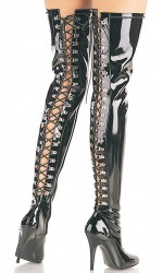 Seduce Back Lacing Black Patent Thigh High Boots