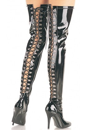 Seduce Back Lacing Black Patent Thigh High Boots Sensual Elegance Fashion, Lingerie and Shoes Women's Sexy Clothing & Lingerie - Clubwear, Plus Size Clothing & Accessories