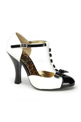 Button T-Strap White and Black Pump Sensual Elegance Fashion, Lingerie and Shoes Women's Sexy Clothing & Lingerie - Clubwear, Plus Size Clothing & Accessories