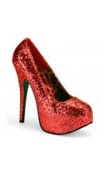 Teeze Red Wide Width Glitter Platform Pump