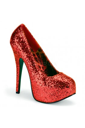 Teeze Red Wide Width Glitter Platform Pump Sensual Elegance Fashion, Lingerie and Shoes Women's Sexy Clothing & Lingerie - Clubwear, Plus Size Clothing & Accessories