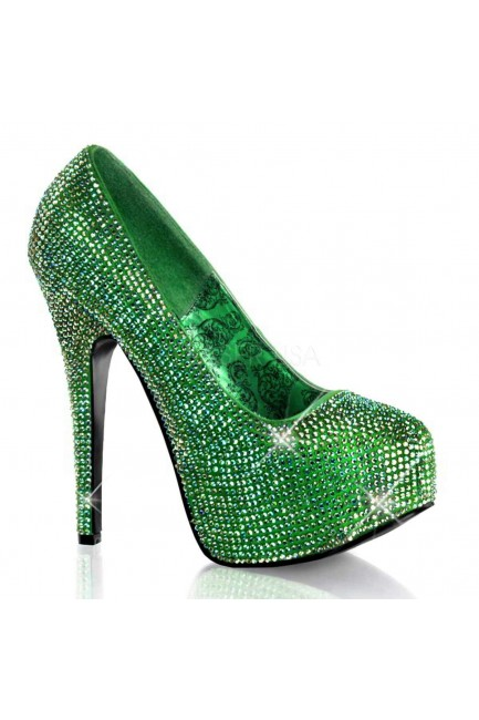 Teeze Green Iridescent Rhinestone Platform Pump at Sensual Elegance Fashion, Lingerie and Shoes, Women's Sexy Clothing & Lingerie - Clubwear, Plus Size Clothing & Accessories