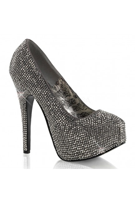 Teeze Pewter Rhinestone Platform Pump at Sensual Elegance Fashion, Lingerie and Shoes, Women's Sexy Clothing & Lingerie - Clubwear, Plus Size Clothing & Accessories