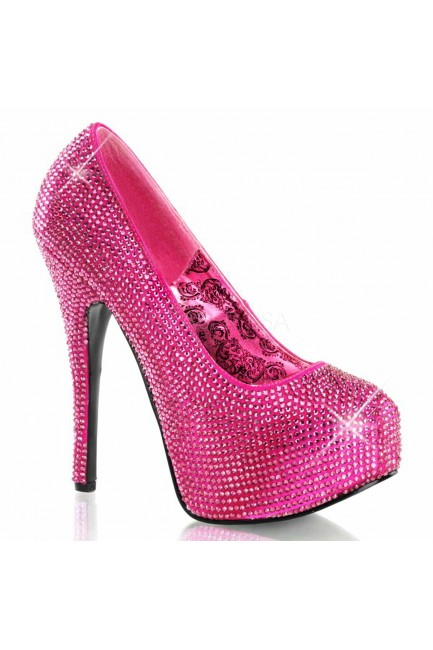 Teeze Hot Pink Rhinestone Platform Pump at Sensual Elegance Fashion, Lingerie and Shoes, Women's Sexy Clothing & Lingerie - Clubwear, Plus Size Clothing & Accessories