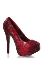 Teeze Ruby Red Rhinestone Platform Pump