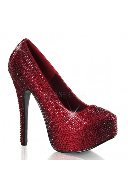 Teeze Ruby Red Rhinestone Platform Pump at Sensual Elegance Fashion, Lingerie and Shoes, Women's Sexy Clothing & Lingerie - Clubwear, Plus Size Clothing & Accessories