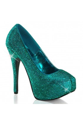 Teeze Turquoise Rhinestone Platform Pump Sensual Elegance Fashion, Lingerie and Shoes Women's Very Sexy Lingerie & Clothing - Clubwear, Bridal Lingerie & Plus Size Lingerie