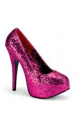 Teeze Hot Pink Wide Width Glitter Platform Pump