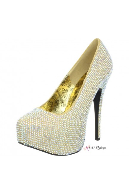 Teeze Gold Iridescent Rhinestone Platform Pump at Sensual Elegance Fashion, Lingerie and Shoes, Women's Sexy Clothing & Lingerie - Clubwear, Plus Size Clothing & Accessories