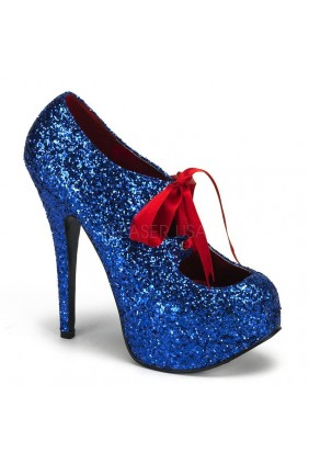 Teeze Blue Glittered Platform Pump Sensual Elegance Fashion, Lingerie and Shoes Women's Sexy Clothing & Lingerie - Clubwear, Plus Size Clothing & Accessories