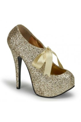 Teeze Gold Glittered Platform Pump Sensual Elegance Fashion, Lingerie and Shoes Women's Sexy Clothing & Lingerie - Clubwear, Plus Size Clothing & Accessories