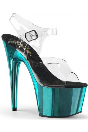 Turquoise Chrome Platform Clear Strap Platform Sandal Sensual Elegance Fashion, Lingerie and Shoes Women's Sexy Clothing & Lingerie - Clubwear, Plus Size Clothing & Accessories