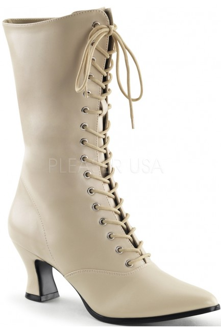 Cream Victorian Ankle Boot at Sensual Elegance Fashion, Lingerie and Shoes, Women's Sexy Clothing & Lingerie - Clubwear, Plus Size Clothing & Accessories