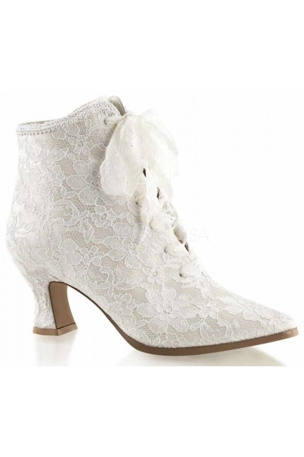 Victorian Jane Ivory Lace Ankle Boot at Sensual Elegance Fashion, Lingerie and Shoes, Women's Sexy Clothing & Lingerie - Clubwear, Plus Size Clothing & Accessories