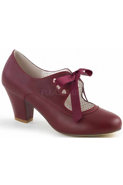 Wiggle Vintage Style Mary Jane Shoe in Burgundy at Sensual Elegance Fashion, Lingerie and Shoes, Women's Sexy Clothing & Lingerie - Clubwear, Plus Size Clothing & Accessories