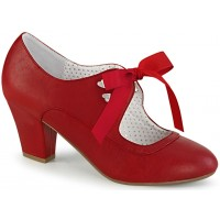 Wiggle Vintage Style Mary Jane Shoe in Red Faux Leather