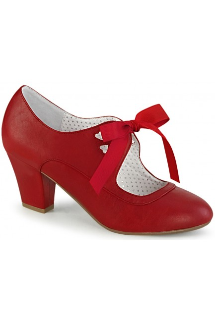 Wiggle Vintage Style Mary Jane Shoe in Red Faux Leather at Sensual Elegance Fashion, Lingerie and Shoes, Women's Sexy Clothing & Lingerie - Clubwear, Plus Size Clothing & Accessories