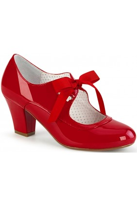 Wiggle Vintage Style Mary Jane Shoe in Red Patent Sensual Elegance Fashion, Lingerie and Shoes Women's Sexy Clothing & Lingerie - Clubwear, Plus Size Clothing & Accessories