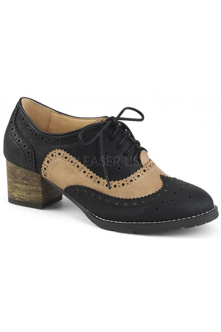 Russell Womens Wingtip Oxford in Tan and Black at Sensual Elegance Fashion, Lingerie and Shoes, Women's Sexy Clothing & Lingerie - Clubwear, Plus Size Clothing & Accessories